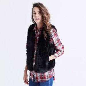 Madewell Faux Fur Sleeveless Blazer XXS